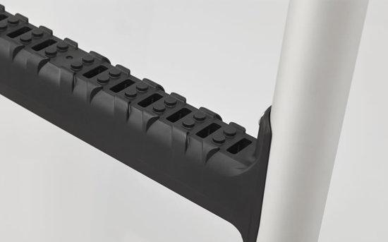 Aluminium ladder very closeup tread