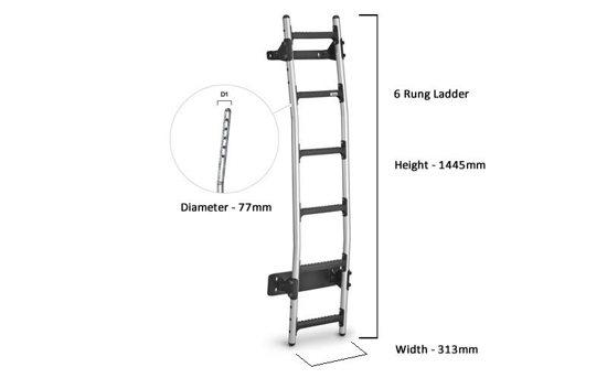 Rhino Aluminium ladder 6 rung tech drawing