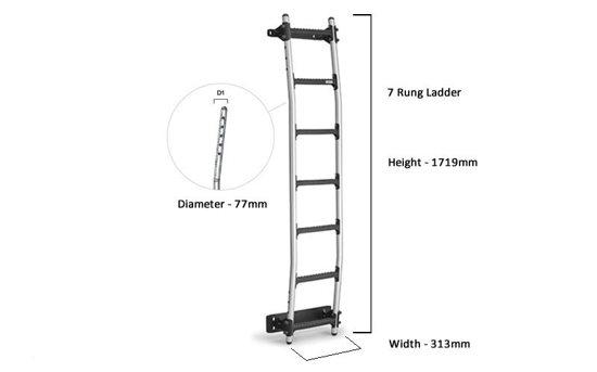 Rhino Aluminium ladder 7 rung tech drawing